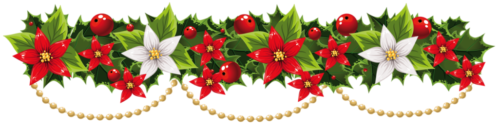 transparent_christmas_mistletoe_garland_with_pearls_png_clipart