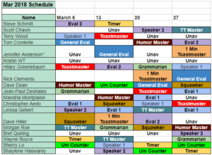 March 2018 Montly Schedule